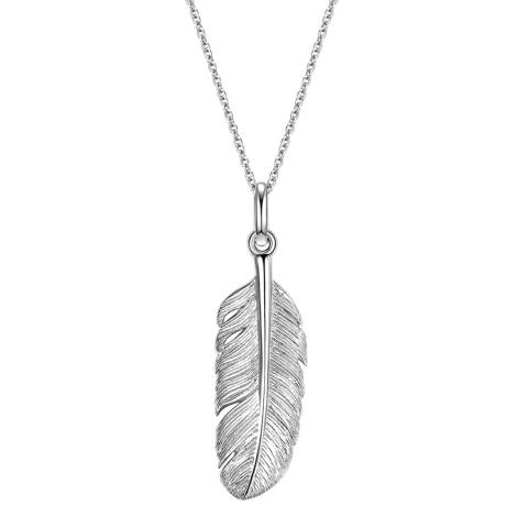 Clara Copenhagen Silver Feather Pendant Necklace
