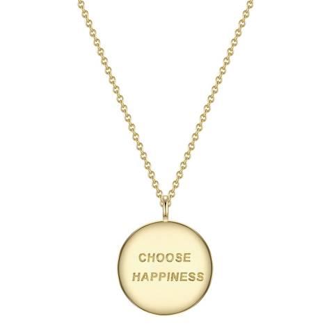 Clara Copenhagen Yellow Gold Choose Happiness Pendant Necklace
