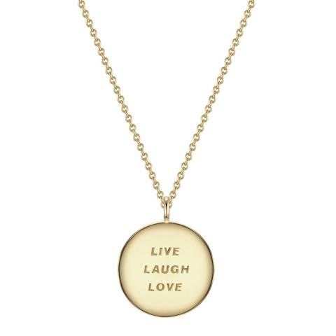 Clara Copenhagen Yellow Gold Live Laugh Love Pendant Necklace