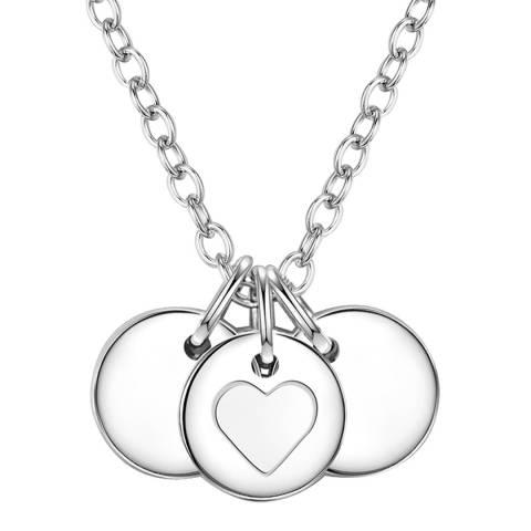 Clara Copenhagen Silver Heart Discs Pendant Necklace