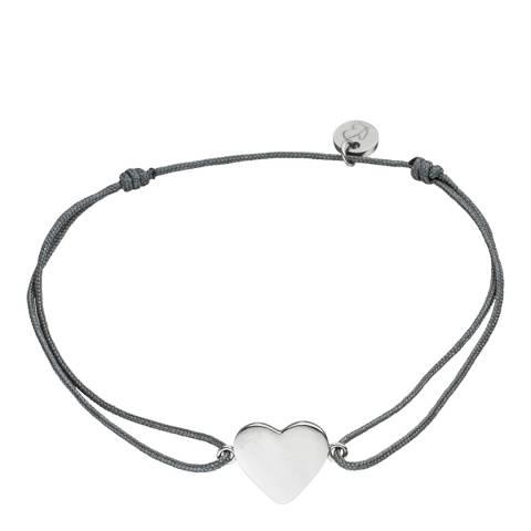 Clara Copenhagen Black Silver Heart Textile Bracelet