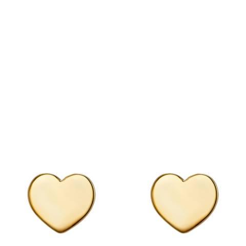 Clara Copenhagen Yellow Gold Heart Stud Earrings