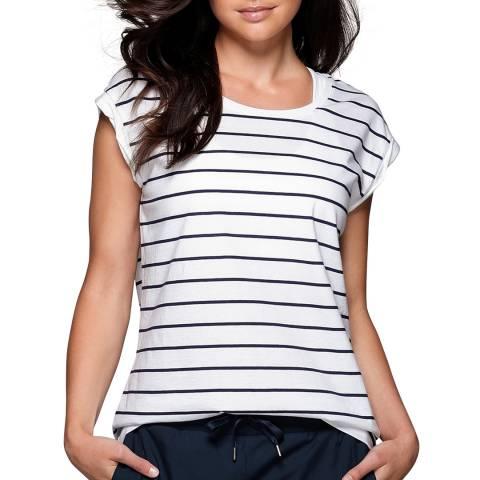 Lorna Jane White/Navy Stripe Sensation T-Shirt