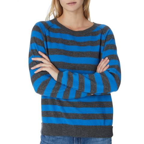 Scott & Scott London Grey/Blue Cashmere Striped Sweatshirt