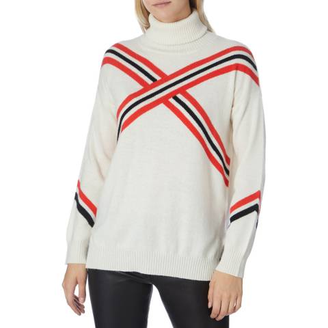 Scott & Scott London Cream/Red Cashmere Geo Roll Neck