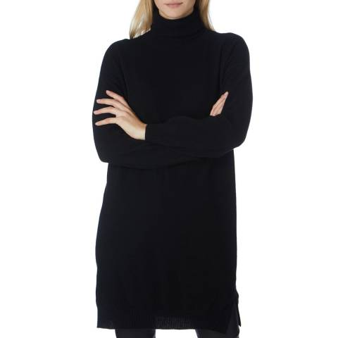 Scott & Scott London Black Geo Longline Roll Neck