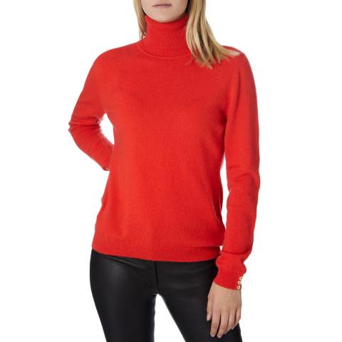 Scott & Scott London Red Cashmere Polo Jumper