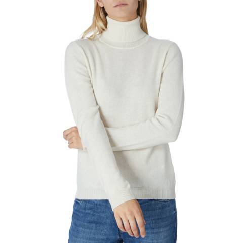 Scott & Scott London White Cashmere Polo Jumper