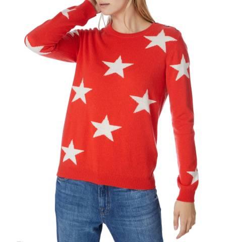 Scott & Scott London Red Solid Star Cashmere Jumper