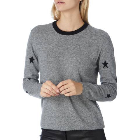 Scott & Scott London Grey/Black Cashmere Starry Arm Jumper