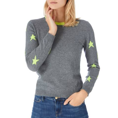 Scott & Scott London Grey/ Neon Yellow Cashmere Starry Arm Jumper