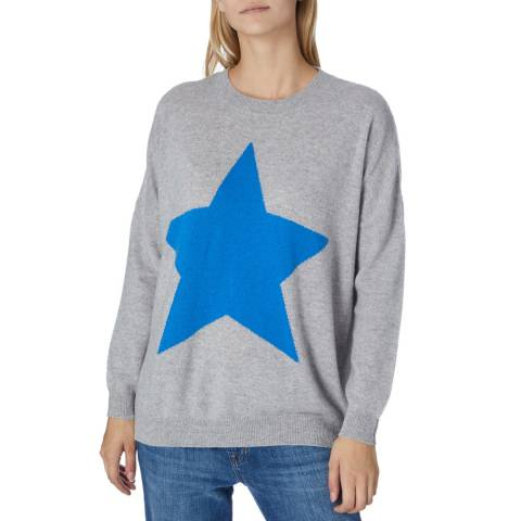 Scott & Scott London Grey/Blue Cashmere Round Neck Jumper