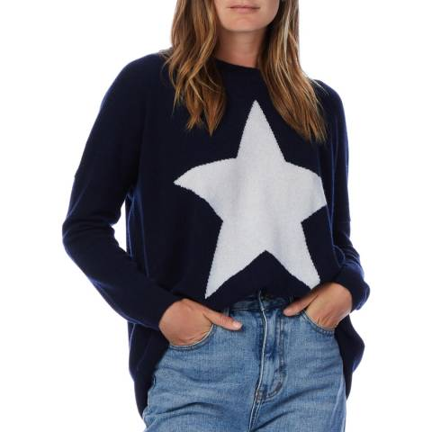 Scott & Scott London Navy/White Cashmere Round Neck Jumper
