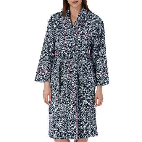 Cottonreal Midnight Blue Super Twill Geo Abstract Grace Shawl Robe