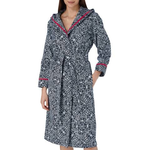 Cottonreal Midnight Blue Super Twill Geo Abstract Grace Hoodie Robe