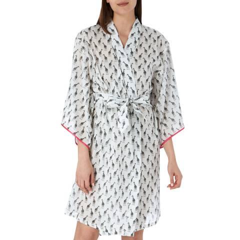 Cottonreal Ivory/Black Deluxe Co Voile Giraffe Kimono Wrapover