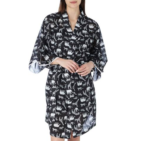 Cottonreal Black Deluxe Co Voile Animal Party Kimono