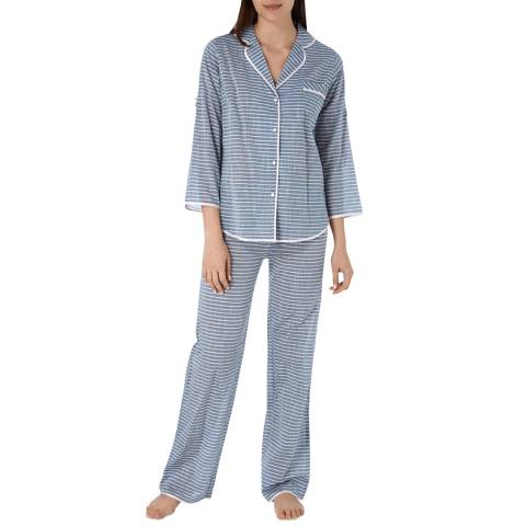 Cottonreal Mid Blue Super Voile Stripe Long Sleeve PJ Set