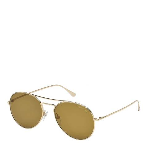 Tom Ford Unisex Brown Round Pilot Sunglasses 55mm