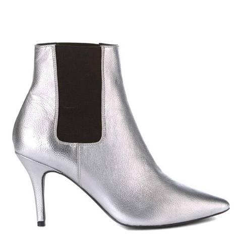Mint Velvet Silver Zara Kitten Heel Boot