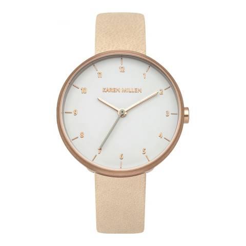Karen Millen White Gloss Satin Finish Leather Strap Watch