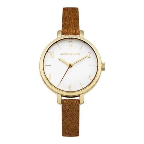 Karen Millen White Pony Fur Leather Strap Watch