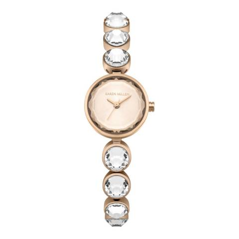 Karen Millen Rose Gold Sunray Polished Stainless Steel with Rose Gold Faceted Stones Bracelet Watch