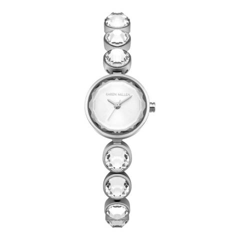 Karen Millen Silver Sunray Polished Stainless Steel with Clear Faceted Stones Bracelet Watch