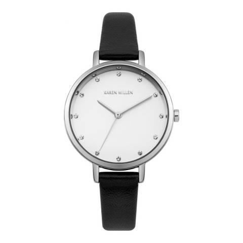 Karen Millen White Sunray Polished Finish Leather Strap Watch