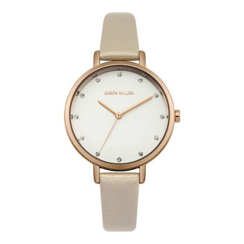 Karen Millen White Sunray Polished Finish Leather Strap Watch