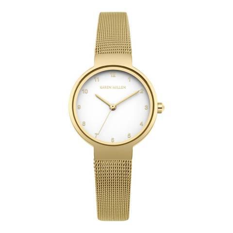 Karen Millen White Matt Stainless Steel Strap Watch