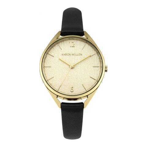 Karen Millen Light Gold Grain Polished Finish Leather Strap Watch
