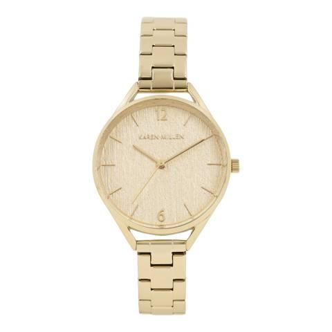 Karen Millen Light Gold Grain Polished Bracelet Watch