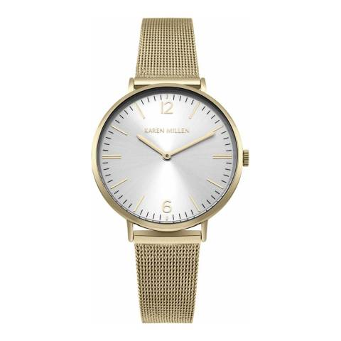 Karen Millen Satin White Polished Stainless Steel Mesh Bracelet Watch