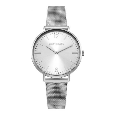 Karen Millen Satin White Mesh Bracelet Watch