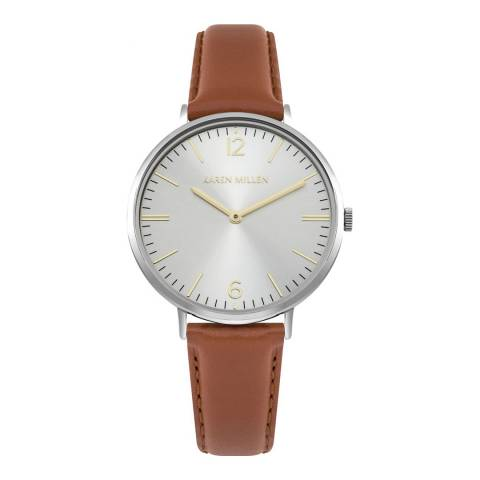 Karen Millen Silver Sunray Polished Leather Strap Watch