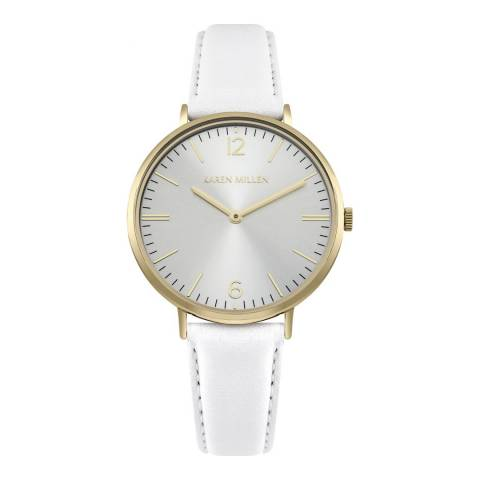 Karen Millen White Sunray Polished Leather Strap Watch