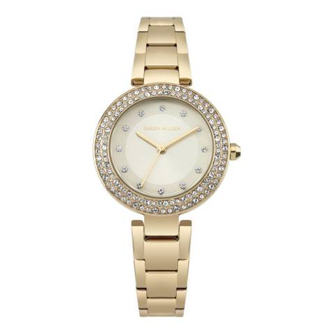Karen Millen Champagne Sunray Polished Stainless Steel Polished Bracelet Watch