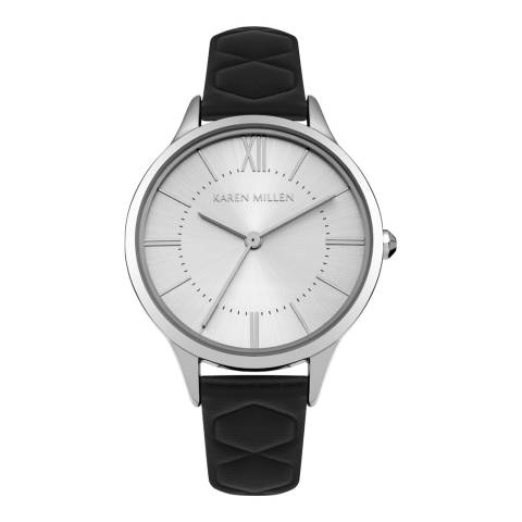 Karen Millen White Silver Sunray Polished Leather Strap Watch