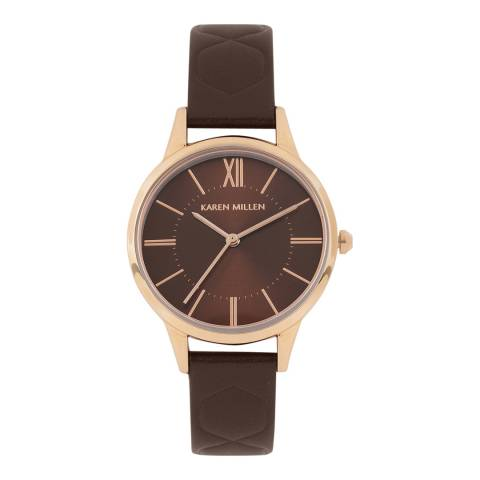 Karen Millen Brown Sunray Polished Leather Strap Watch