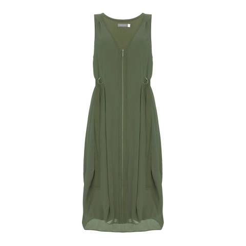 Mint Velvet Khaki Zip Front Cocoon Dress