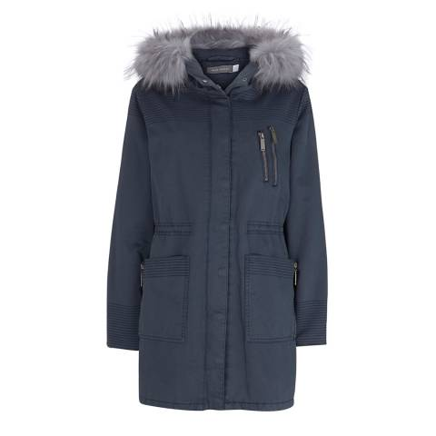 Mint Velvet Navy Faux Fur Cotton Parka