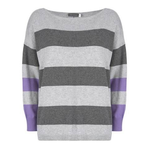 Mint Velvet Grey/Violet Cotton Blend Striped Jumper