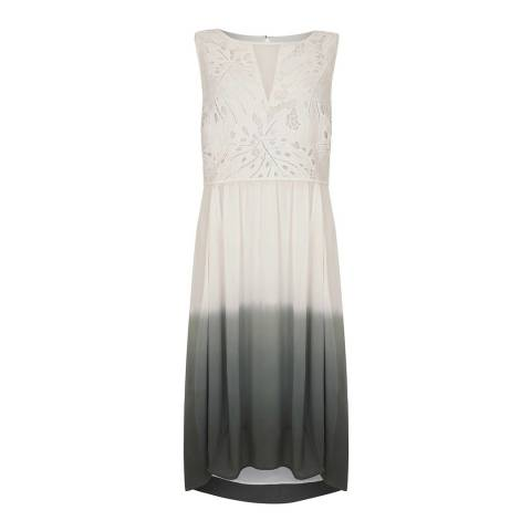 Mint Velvet Grey/White Lace Ombre Cocoon Dress