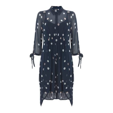 Mint Velvet Navy Brynn Cocoon Shirt Dress