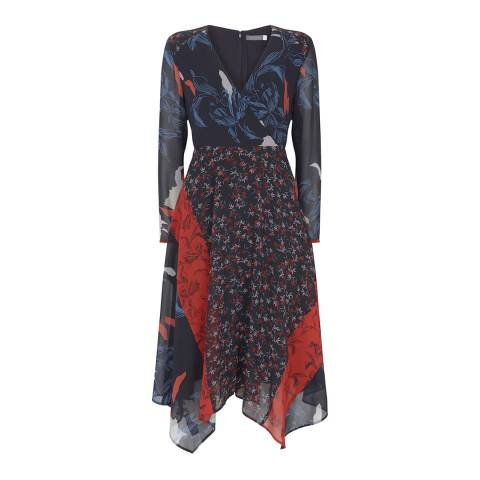 Mint Velvet Navy Ruby Print Wrap Dress