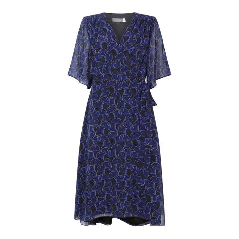 Mint Velvet Navy Cassie Print Wrap Dress