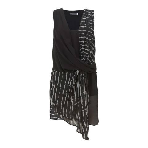 Mint Velvet Black/White Indi Print Draped Tunic