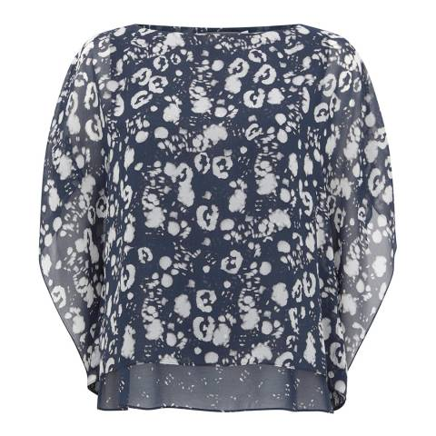 Mint Velvet Navy Louise Print Layered Top