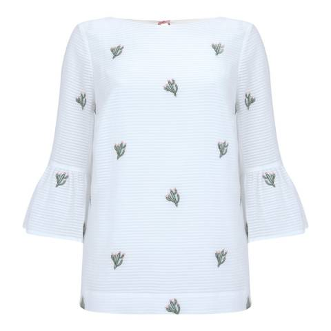 Mint Velvet Ivory Cactus Embroidered Top